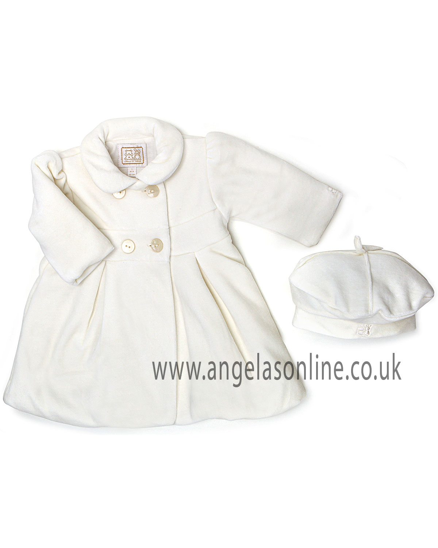 Emile et Rose Baby Girls Ivory Velour Winter Coat & Hat 9201iv Bianca