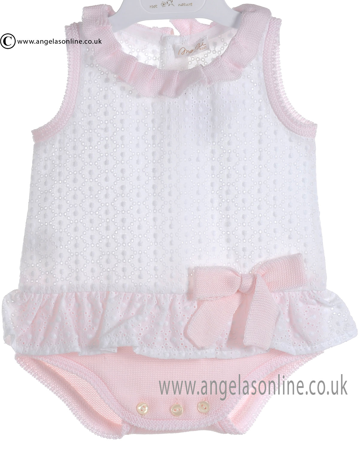 Mebi Baby Girls White and Pink All in One Romper 1386/004