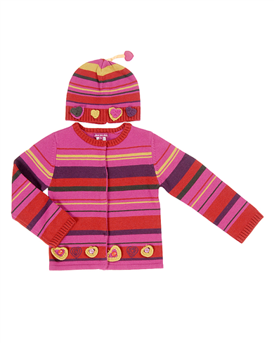 Deux par Deux : knitted cardigan and hat set JP31