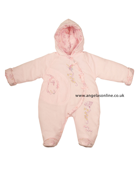 Everyday Kids Girls Pink Embroidered Snowsuit 7045
