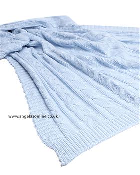 Emile et Rose Blue Knitted Baby Blanket Arden - 8155pb