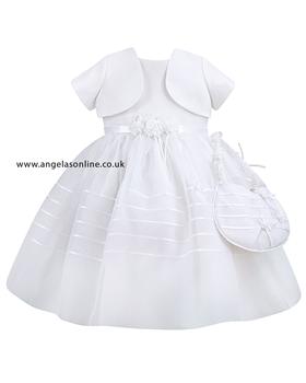 Sarah Sarah Louise White Christening Dress | Bolero | Bag 8930wh