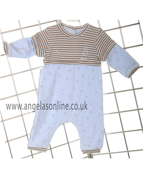 Absorba Baby Boys Stripes & Teddy Bear Romper 9A32021