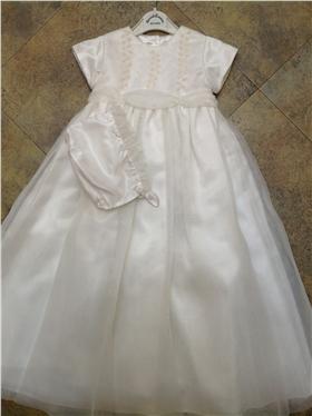 Sarah Louise Girls Ivory Embroidered Christening Dress & Bonnet 123