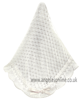 Sarah Louise White Christening Shawl 000031 White