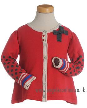 Deux par Deux Girls Red Spot & Stripe Knit Cardigan ET35