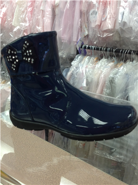 Andanines Girls Blue Patent Leather Boot C92807BU