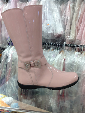 Andanines Girls Pink Patent Leather Boot C96375PK