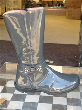Andanines Girls Grey Patent Leather Boot C96375GR