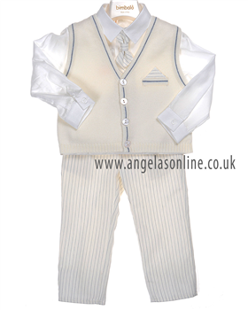 Bimbalo Baby Boys Ivory/Navy Suit 2602