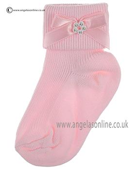 Girls Sock 124/3 pk/pk bow/dia