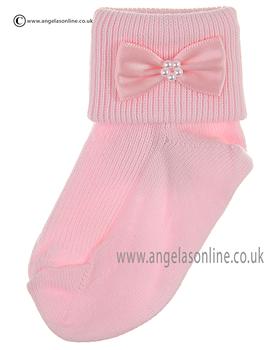 Girls Sock 124/2 pk/pk bow/pearl