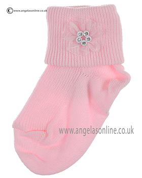 Girls Sock 124/1 pk/pk ros/dia