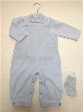 Coco Baby Boys Train Detail Pale Blue Dungaree, Top & Socks Set A3027