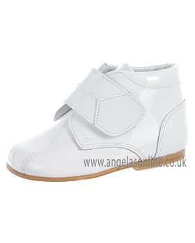 Andanines Boys White Patent Leather Velcro Strap Boot 71236