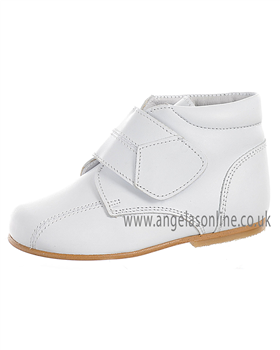 Andanines Boys Velcro Strap White Leather Winter Boot 71236
