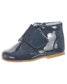 Andanines Boys Velcro Strap Navy Patent Leather Winter Boot 71236