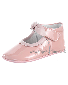 Andanines Baby Girls Pale Pink Patent Leather Soft Sole Shoe 10118