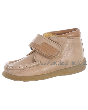 Andanines Boys Leather Velcro Fasten Boot 35672 Beige