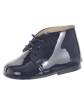 Panyno Boys Smart Navy Patent Leather Boots Shoe B1515
