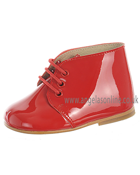 Panyno Boys Smart Lace Up Red Patent Leather Boots B1515