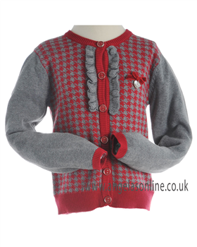 Mayoral Girls Grey/Red Knitted Winter Cardigan 4334