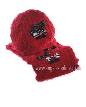 Deux Par Deux Girls Hat & Scarf ETB/ETF Red