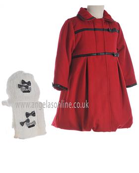 Deux Par Deux Girls Red  Coat E57/741