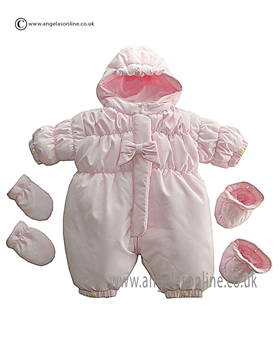 Emile et Rose Girls Pale Pink Bow Detail Zip Up Snowsuit Dayna 1585pp
