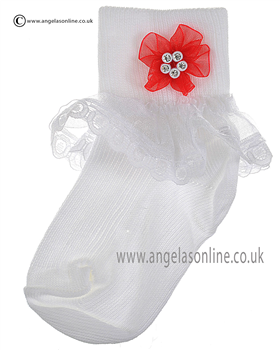 Girls Frill Sock 124/7 wh/rd ros/dia