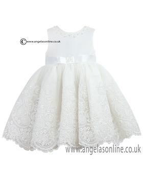 Sarah Louise Girls Ivory Christening Dress 070017 Ivory