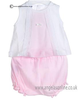 Babidu Baby Girls White and Pink Two piece 437