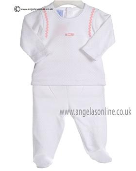 Babidu Baby Girls Pink and White Two piece 5667