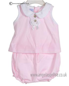 Babidu Baby Girl White and Pink Two piece 427