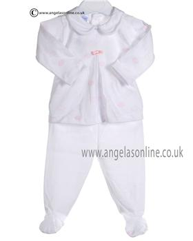 Babidu Baby Girls White and Pink Two piece 5516