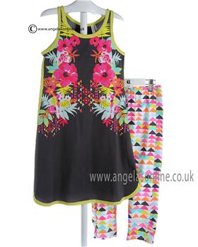 Deux par Deux Girls Grey Tunic Dress & Pattern Leggings J95/J63