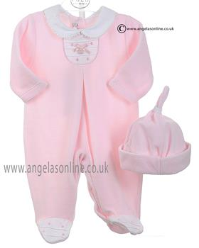 Coco Baby Girls All in One With Hat & Peter Pan Collar 3105 Pink