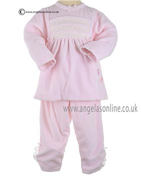 Coco Baby Girls Top trouser & Socks With Embroidery 3115 Pink