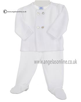 Babidu Baby Boy Top & Footsie Bottom 53165 White