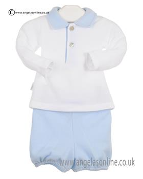 Babidu Baby Boys  Long Sleeve Top & Shorts 45106 Blue