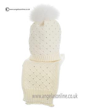 Bufi Girls Hat & Scarf Set 9266SC Cream