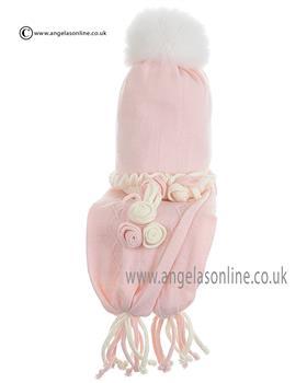 Bufi Baby Girls Hat & Scarf 9315SC Pink