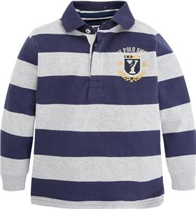 Mayoral Boys Long Sleeve Striped Polo Top 4111 Navy