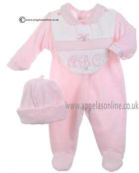 Coco Baby Girls All in One, Bib & Hat 3101 Pink