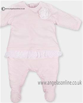 Tutto Piccolo Baby Girls Pink Stripe All in One 9084 Wh/Pk