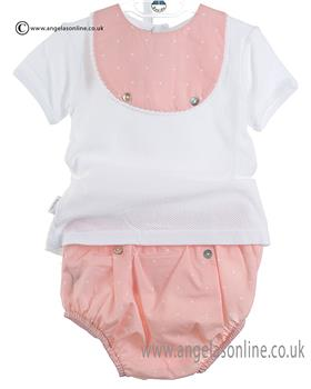 Babidu Girls Short Sleeve Bib Top & Shorts 46306 Pink