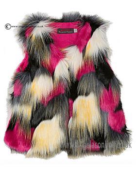 Catimini girls fur waistcoat CI16003 multi