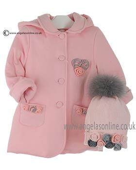 Bufi Girls Padded Grey/Pink Rosette Coat 9730 Pink