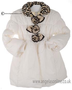 Bufi Baby Girls Leopard Print Coat 9101A Cream