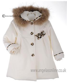 Bufi Girls Fur Hooded Coat Leopard/Cream 9738Z